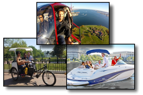 Picture of People in Helicopter over Baltimore, Tricycle in front of White House and Motorboat on the Potomac